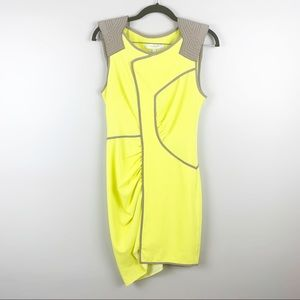 BCBG Maxazria Runway Yellow Asymmetrical Dress